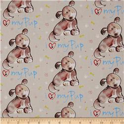 Paw Prints Luv My Pup Tan Fabric