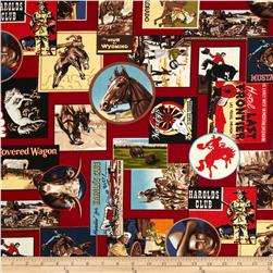 The Old West Cowboy Collage Red