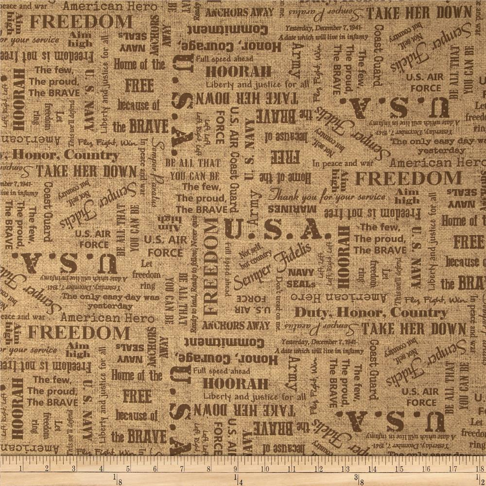 Moda Because of the Brave Words Tonal Burlap