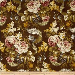 Chenonceau Flannel Large Floral Brown