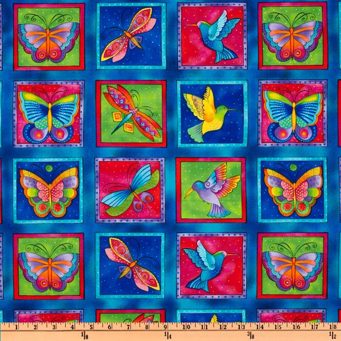 Laurel Burch Flying Colors II Panel  Squares Blue