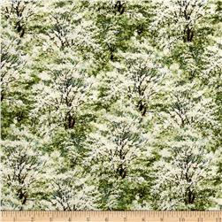 Spring Ahead Trees Allover Blue/Green