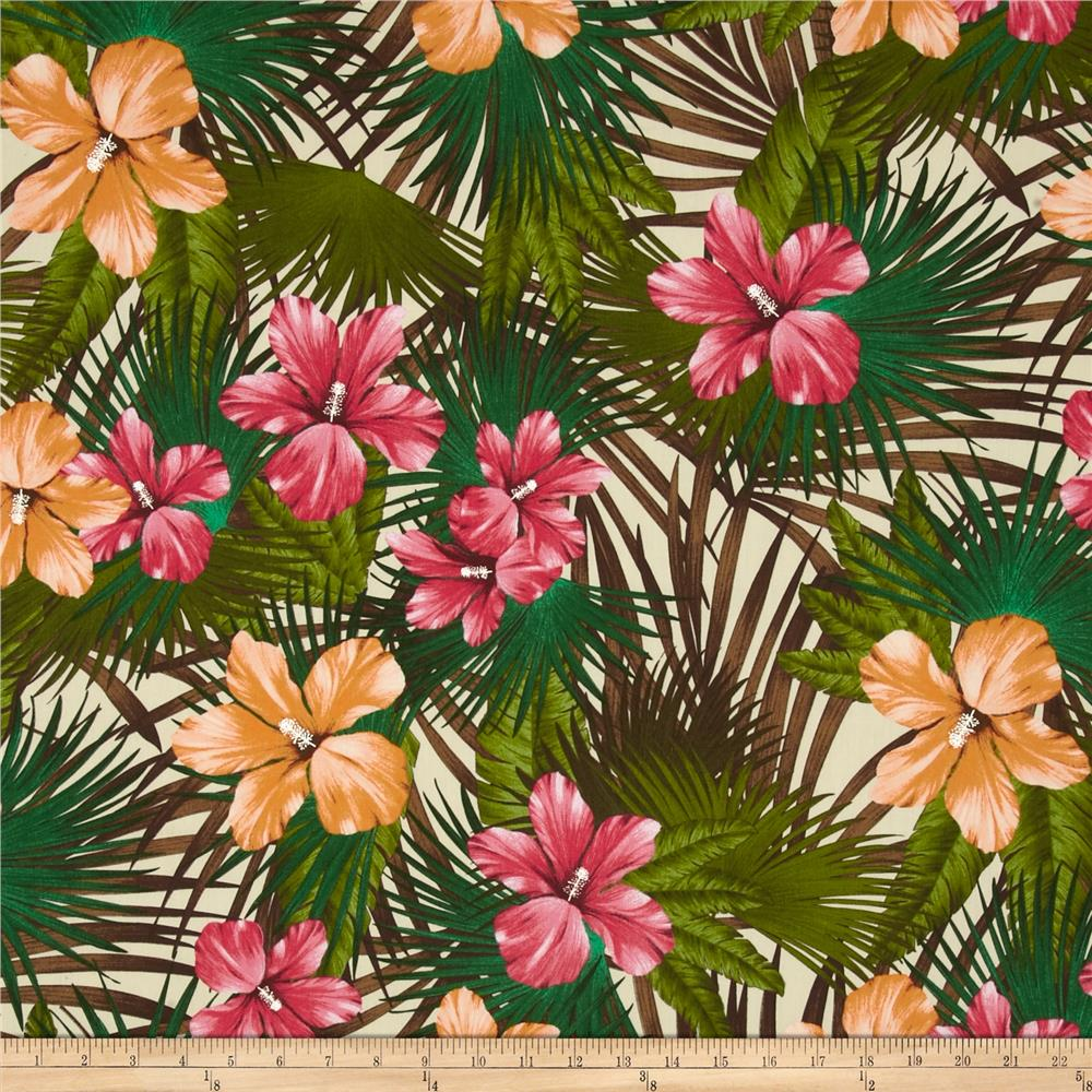 Kaufman Tahitian Nights Poplin Jungle Flowers Tan