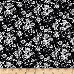 Woodland Forest Small Floral Black