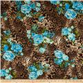 Hatchi Sweater Knit Leopard Print Floral Aqua/Brown/Black/Beige