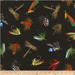Timeless Treasures Tossed Fishing Fly Lures Loden Green