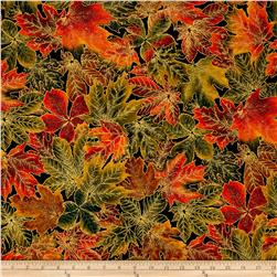 Kaufman Shades of the Season Metallic Leaves Black