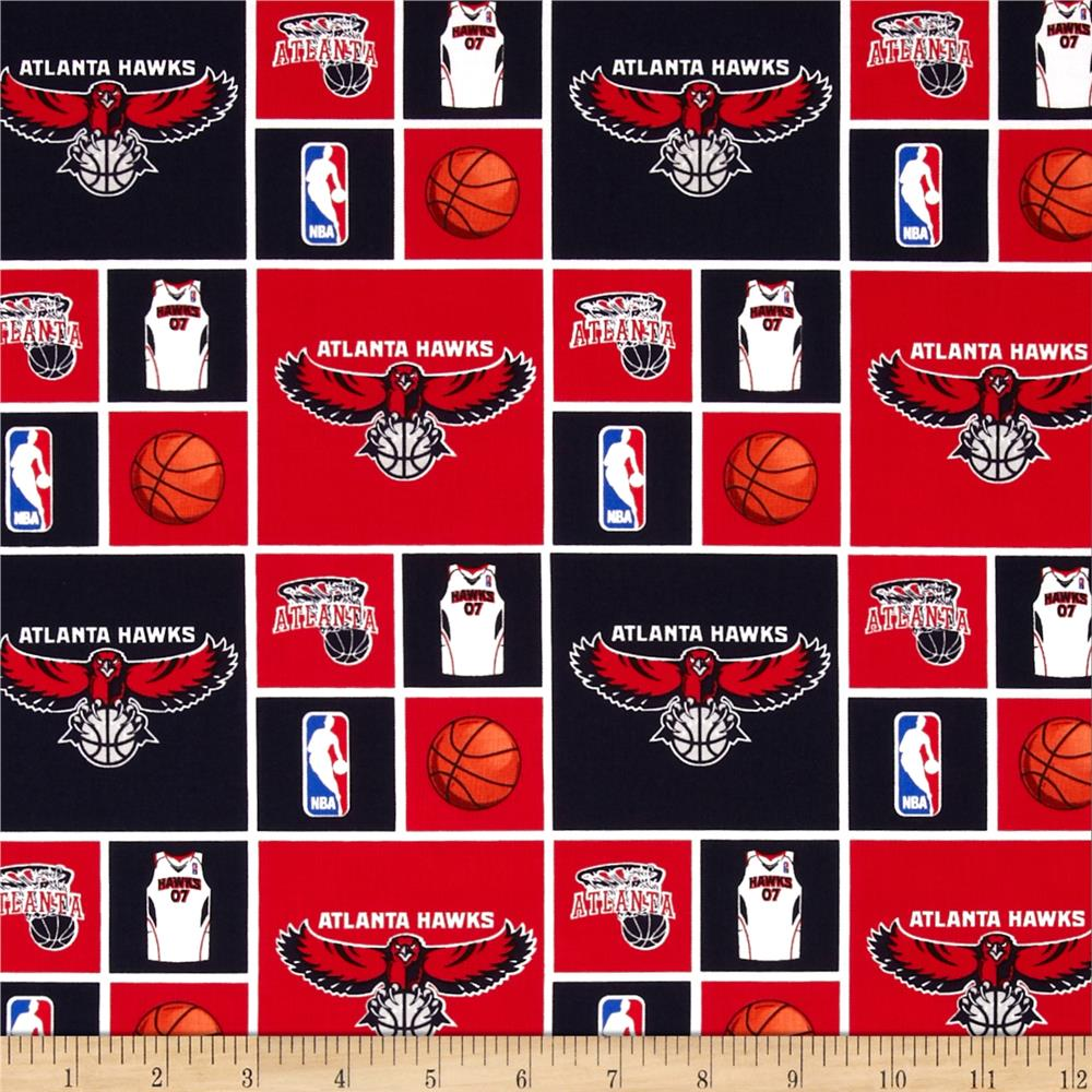 NBA Cotton Broadcloth Atlanta Hawks Blocks Blue/Red