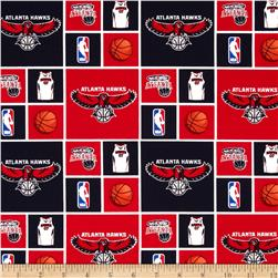 NBA Cotton Broadcloth Atlanta Hawks Blocks Blue/Red Fabric