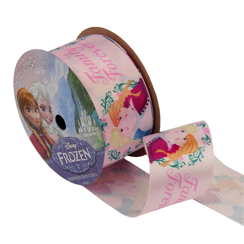 1 1/2'' Frozen Ribbon Family Forever Pink 3YD Spool
