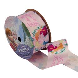 1 1/2'' Frozen Ribbon Family Forever Pink 3YD