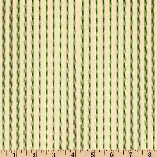 Vertical Ticking Stripe Green/Ivory
