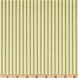 Vertical Ticking Stripe Green/Ivory Fabric
