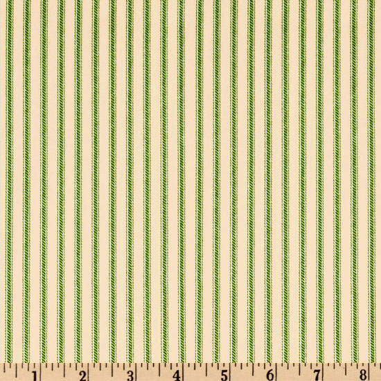 Ticking Stripe Green/Ivory Fabric