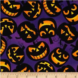 Monsters! Tossed Jack O'Lanterns Purple
