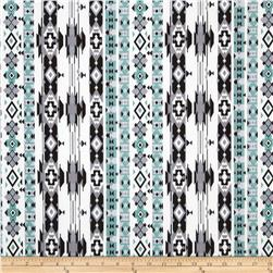 Spandex ITY Jersey Knit Southwest Tribal Black/Grey/Sage/White