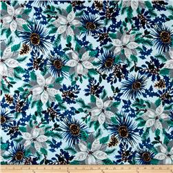 Winter Wonderland Flannel Poinsettia Blue
