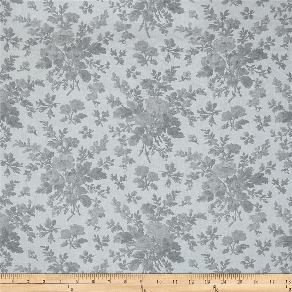 108'' Wide Quilt Back Floral Grey Fabric