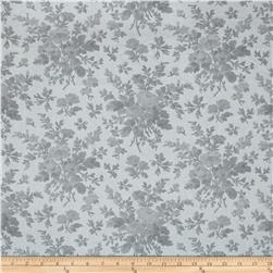 "108"" Wide Quilt Back Floral Grey"