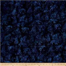 Island Batik Woodland Animals Dark Blue