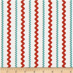 Ric Rac Rabbits Stripes White/Orange/Aqua