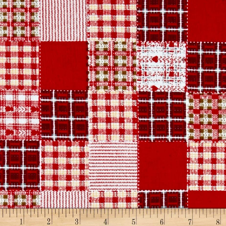 Corduroy Print Patchwork Red