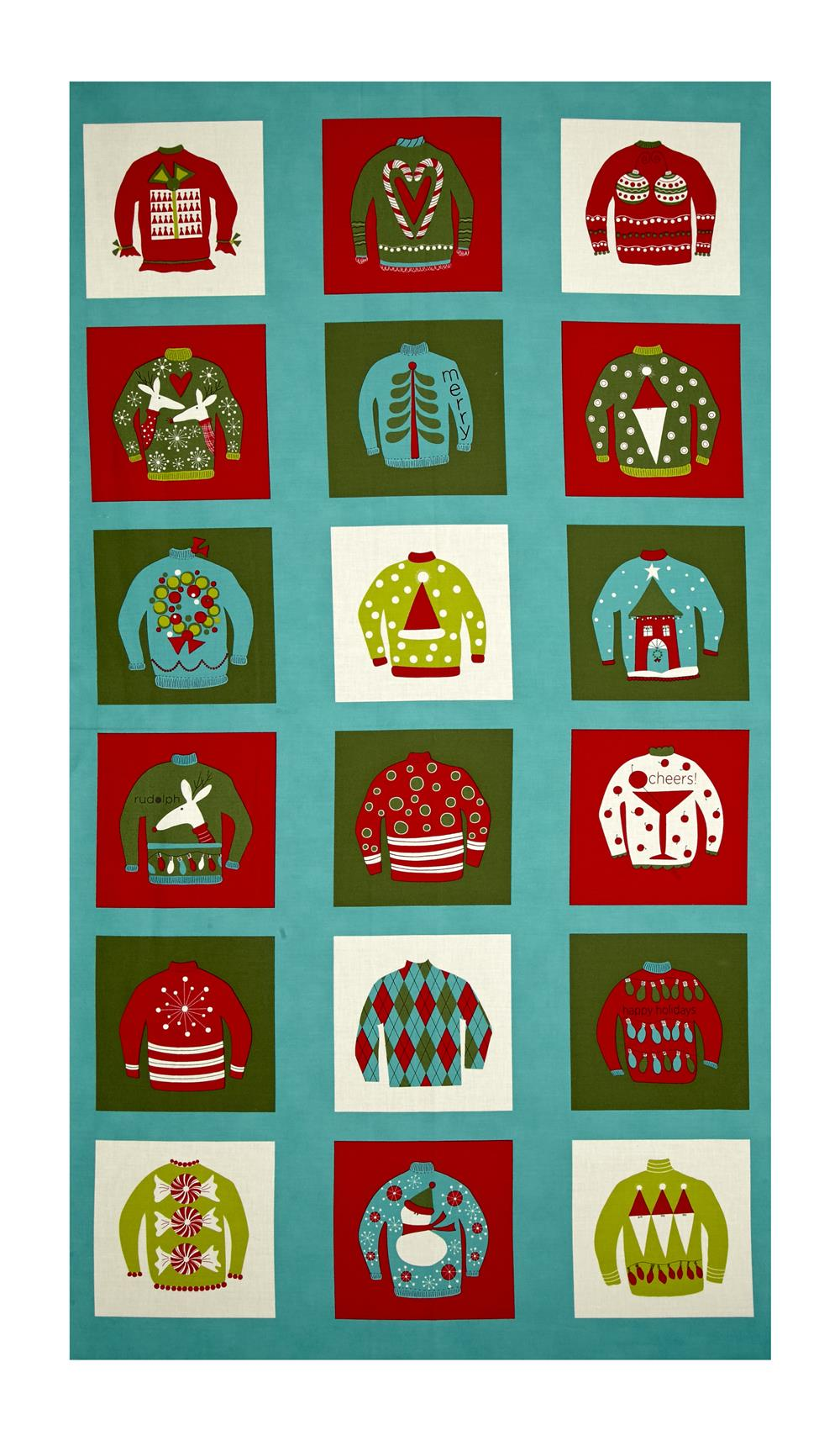 """Moda Eat, Drink & Be Ugly Sweater 24"""" Panel Frozen Pond"""