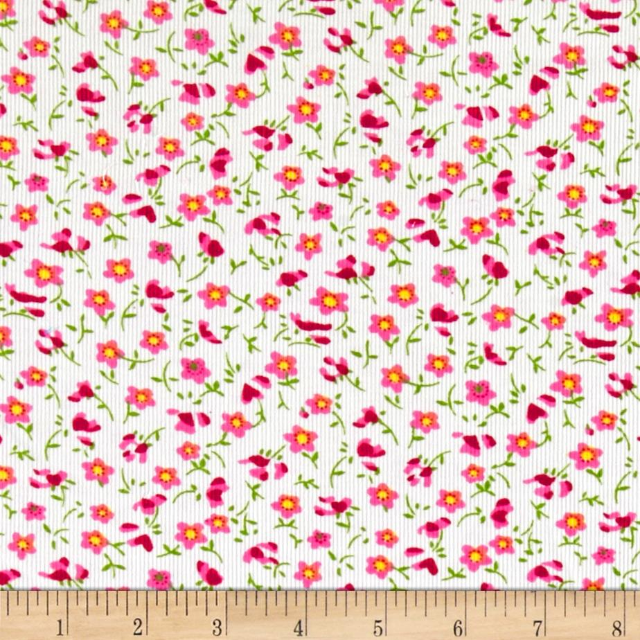 Corduroy Tossed Flowers Pink/White