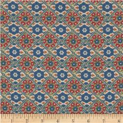 Rayon Voile Tile Blue/Red