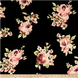 Bubble Crepe Large Floral Black/Coral