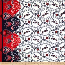 Cotton Lawn Flourish Border White/Navy