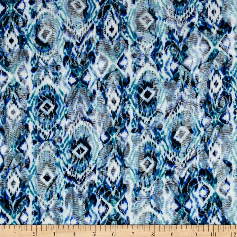 Printed Lace Ikat Blue