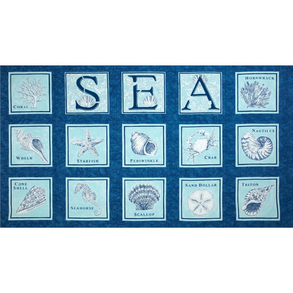 Moda Seascapes Panel Navy