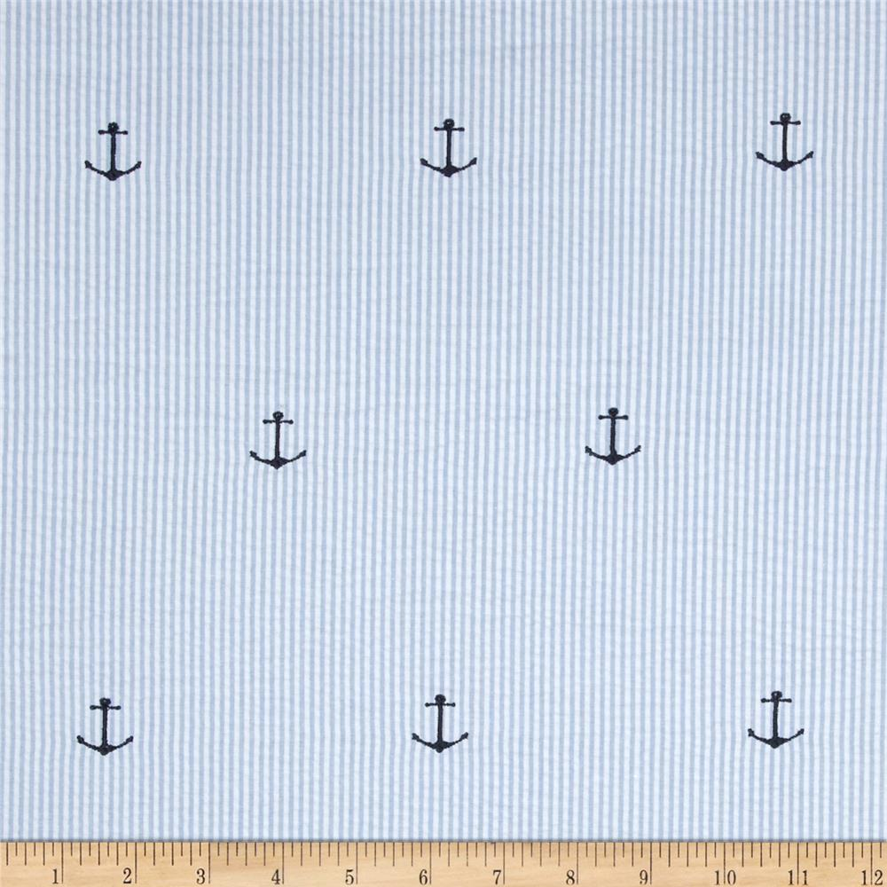 Kaufman Embroidered Seersucker Anchors Blue