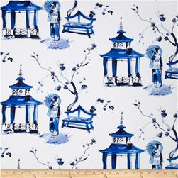 Michael Miller Cotton Sateen Pagoda Garden Blue Fabric