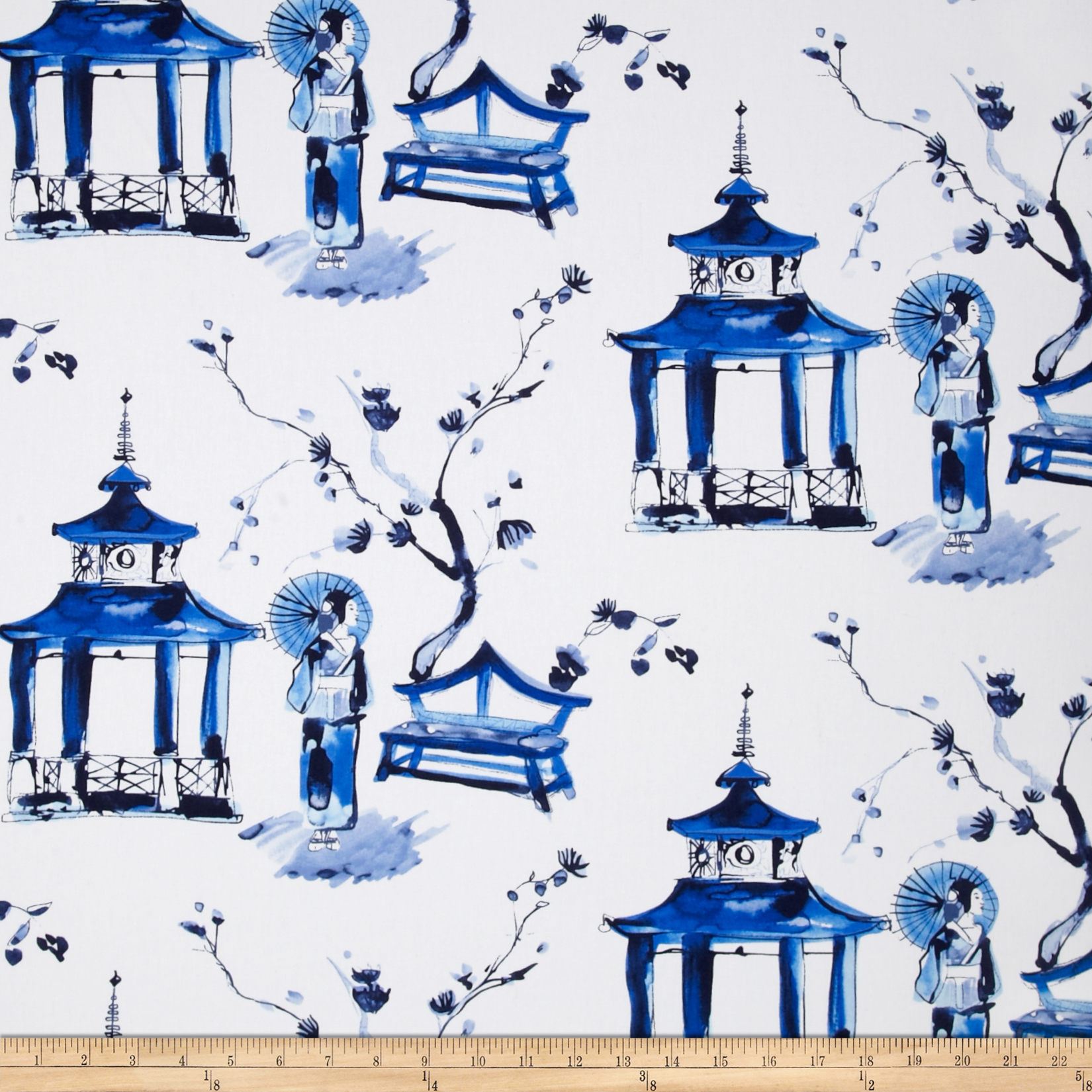 Michael Miller Cotton Sateen Pagoda Garden Blue