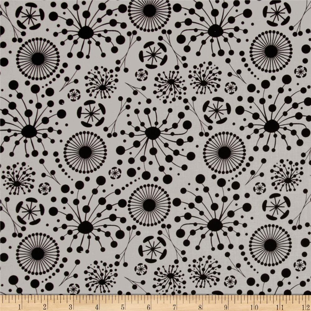 Ink Blossom Dot Blooms Grey