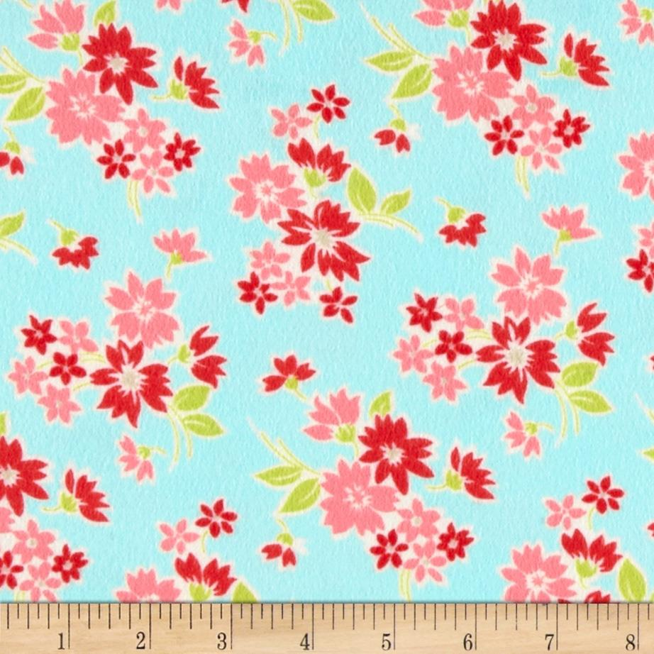 Moda Miss Kate Flannel Spring Floral Aqua
