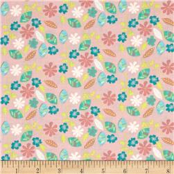 Fabric Freedom Woodland Floral Leaves & Flowers Pink