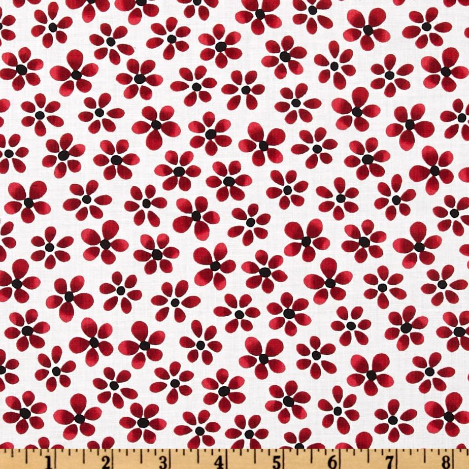 Canvas Small Floral White/Red