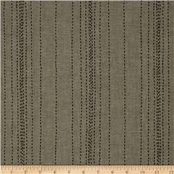 Andover Printed Chambray  Stitch Lines Gray/Black