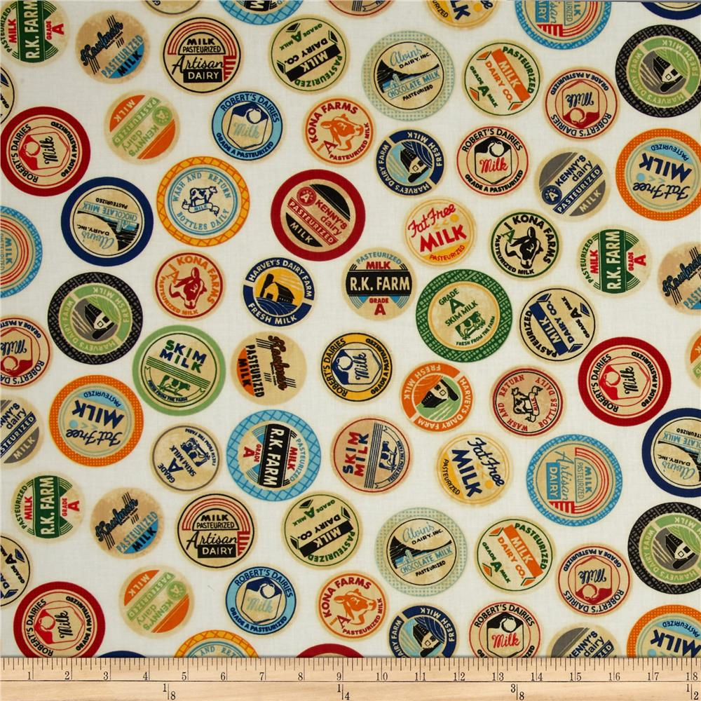 Kaufman Down on the Farm Bottle Tops Ivory