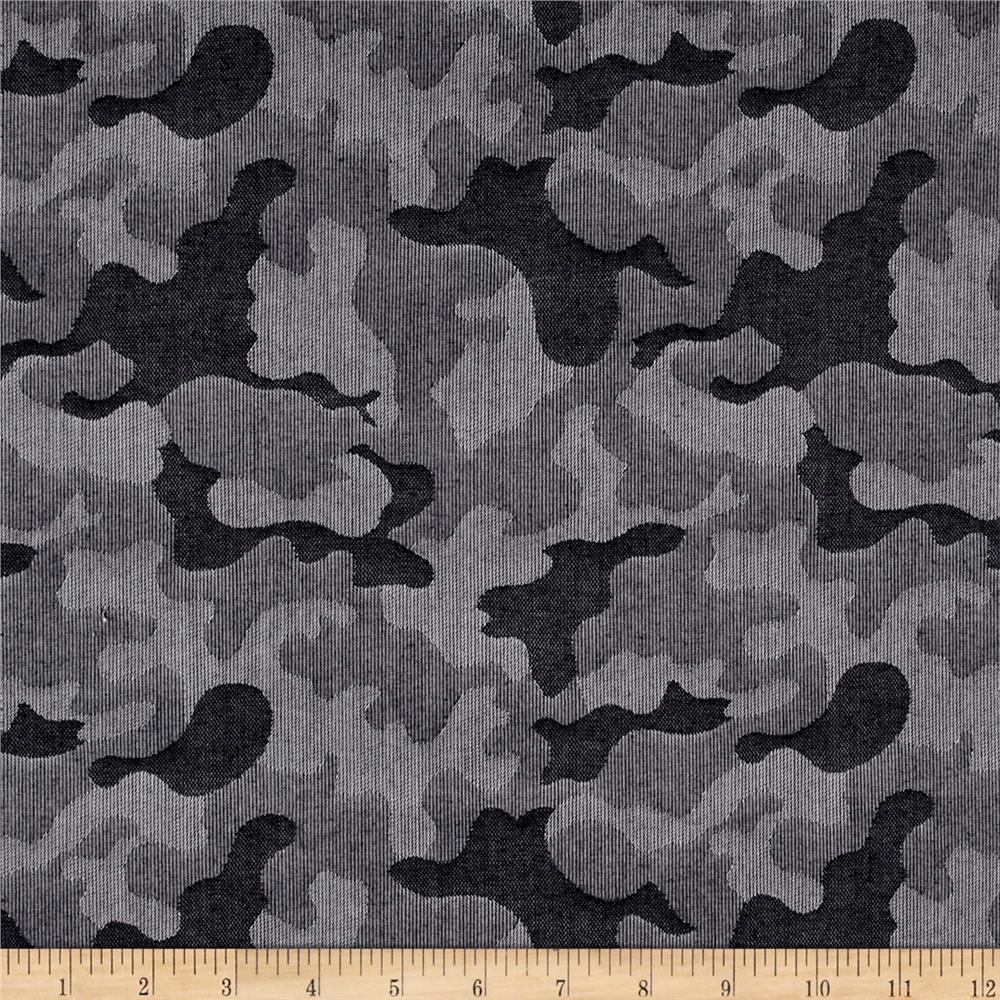 Cotton Chambray Camo Navy