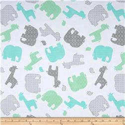 Comfy Flannel Tossed Jungle Animals White