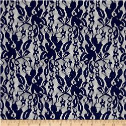 Stretch Floral and Leaves Lace Blue