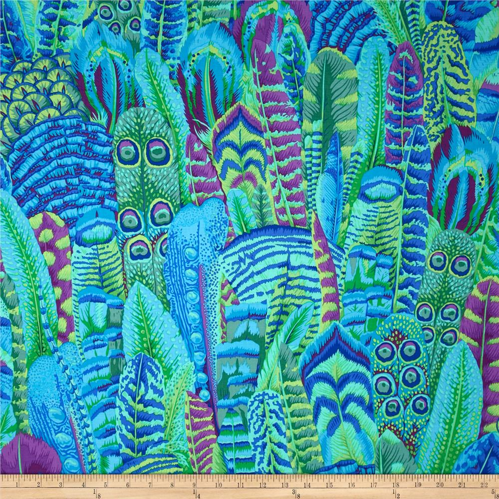 Kaffe fassett feathers green discount designer fabric for Modern fabrics textiles