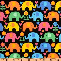 Timeless Treasures Elephants On Parade Elephant Multi/Black