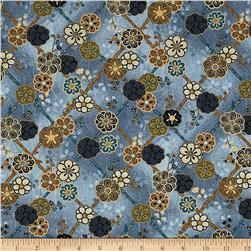 Asuka Metallic Floral Diamonds Dusty Blue/Gold
