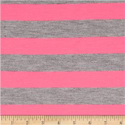 Yarn Dyed Jersey Knit Stripes Grey/Neon Pink