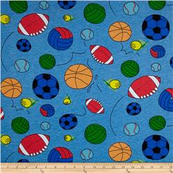 Cotton Jersey Knit World of Balls Blue/Multi Fabric